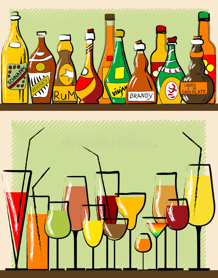 Bottles and glass royalty free illustration