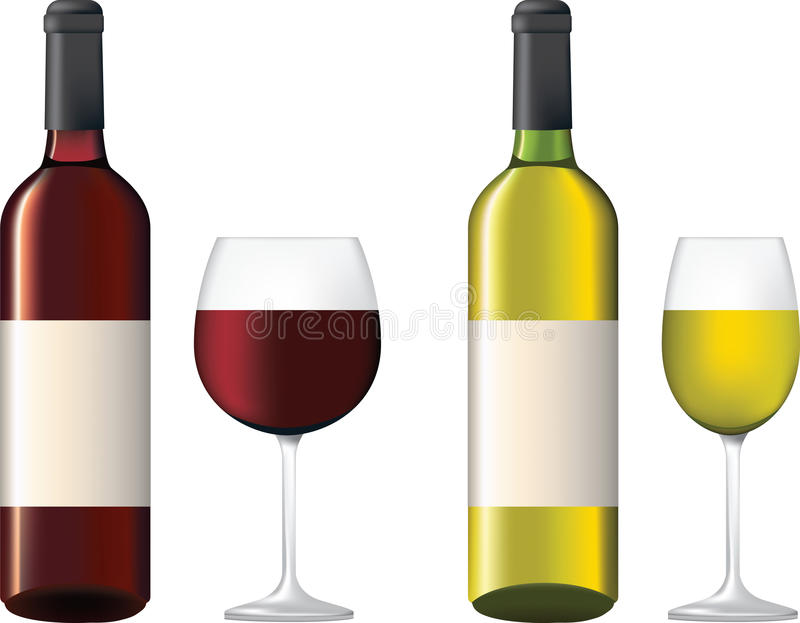 Bottles And Glass Of Red And White Wine Stock Photos