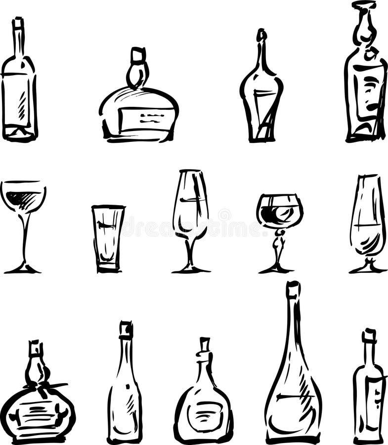 Download Bottles and glasses stock vector. Image of sketch, beverage - 24898511