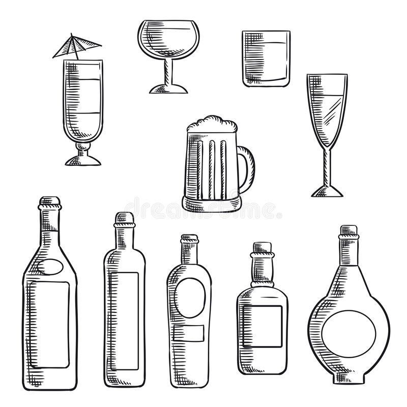 bottles and glasses of alcohol beverages sketch stock vector