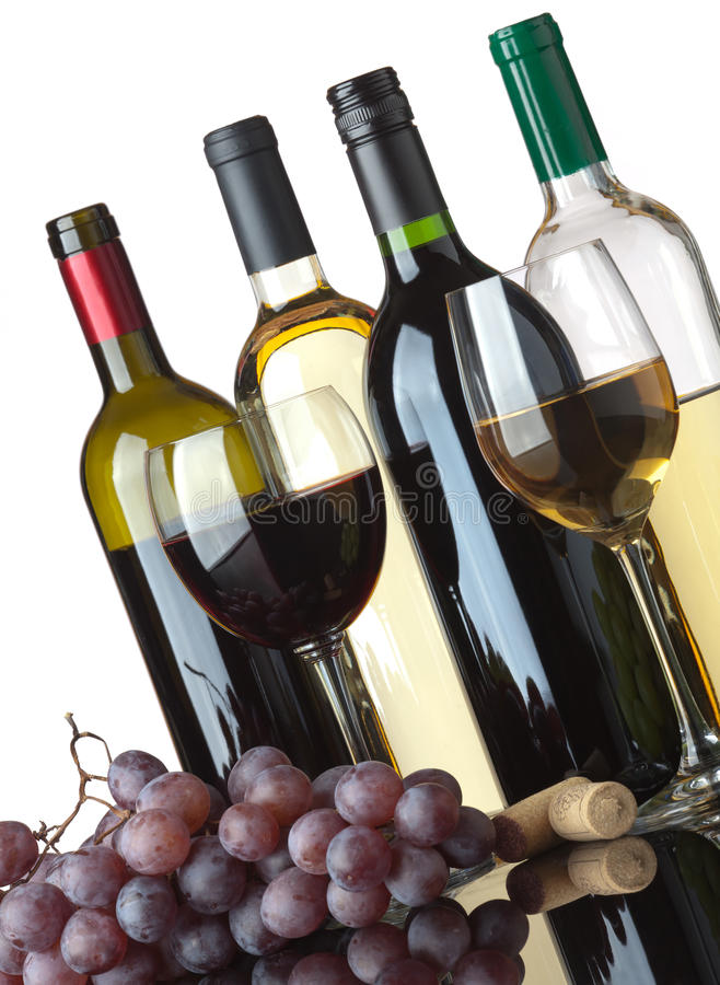 Download Bottles, Glasses And Grapes Stock Photo - Image: 16709706
