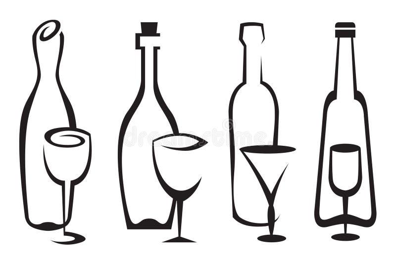 Bottles and glasses set vector illustration