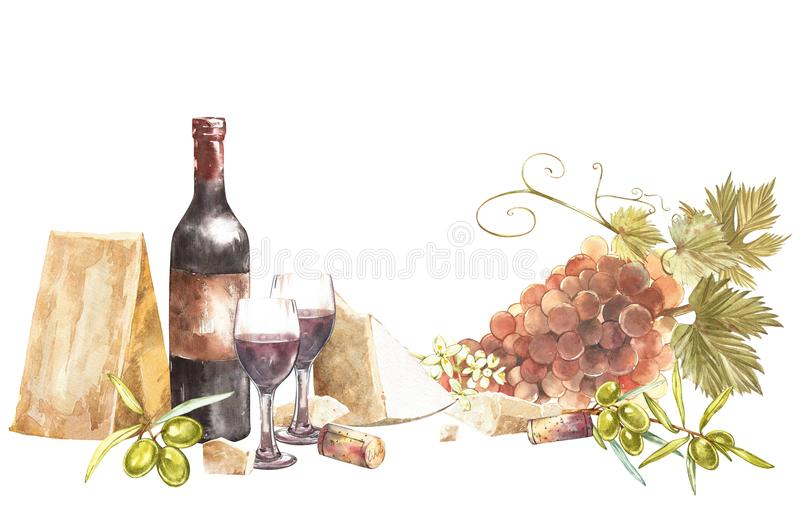 Bottles and glasses of wine and leaves of grapes, isolated on white. Parmesan cheese and olives. Hand drawn watercolor. Illustration. Banners of wine vintage royalty free illustration