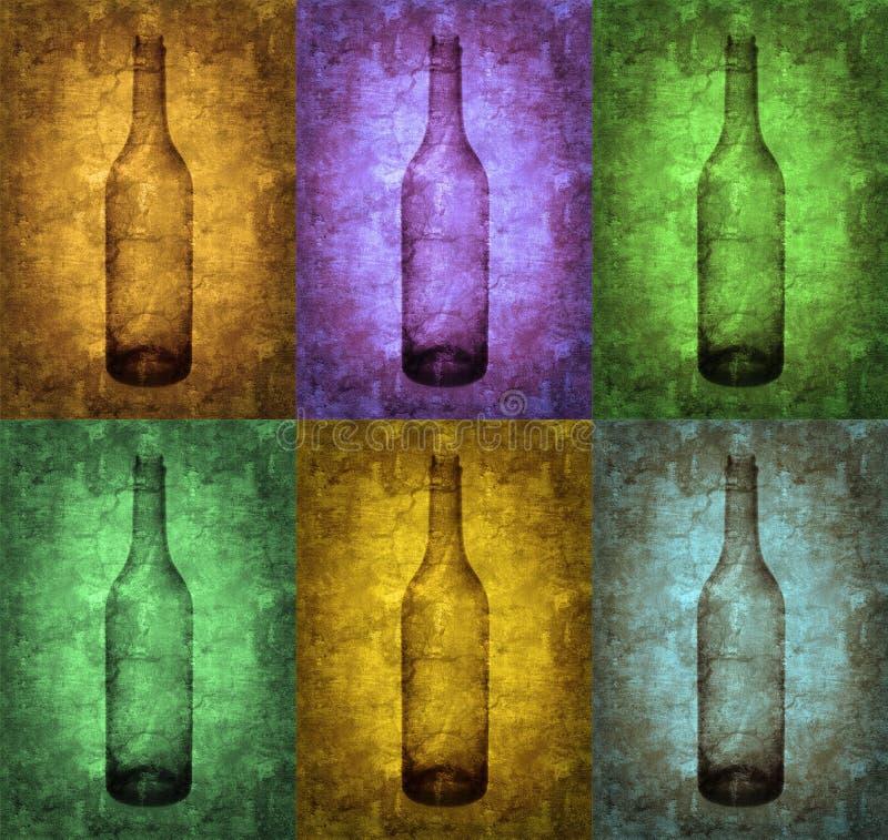 bottles grungeillustrationen royaltyfri illustrationer