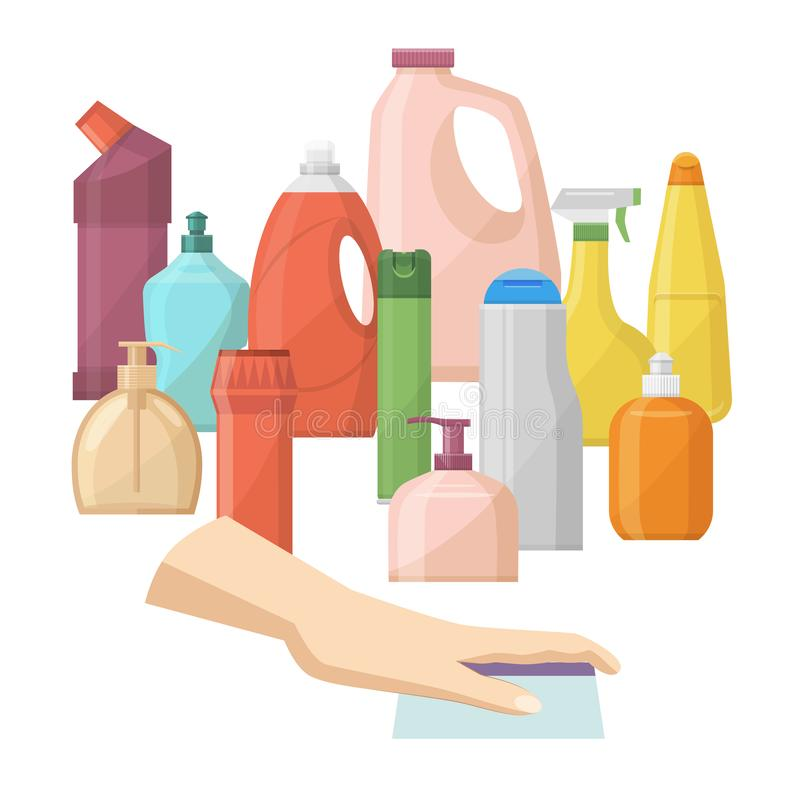 Bottles of household chemicals supplies and cleaning housework vector illustration. Plastic detergent liquid, domestic royalty free illustration