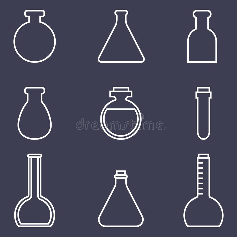 Bottles Icons Set isolated on dark background. Chemistry equipment. Medical accessories. Vector illustration. royalty free illustration