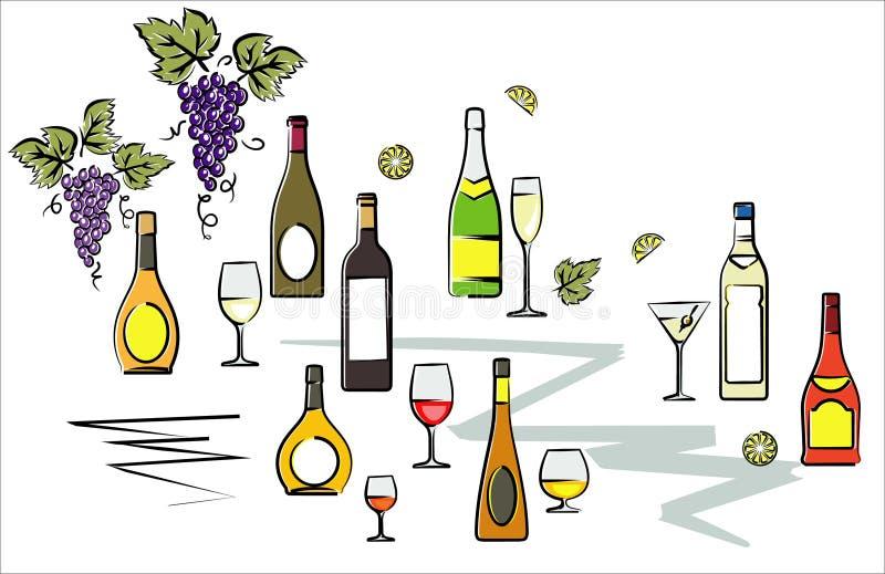 bottles illustrationvektorwine royaltyfri illustrationer