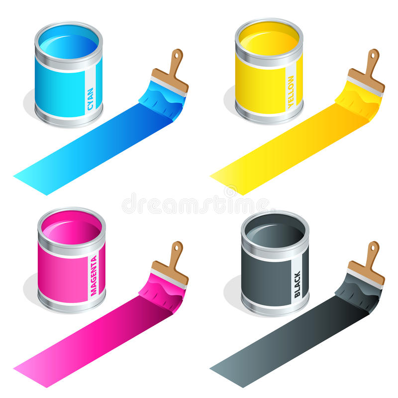 Bottles of ink in cmyk colors and paint brush on white isolated background. Flat 3d vector isometric illustration. royalty free illustration