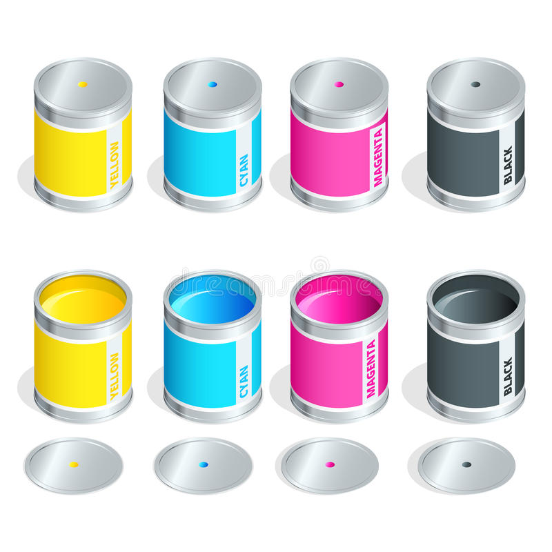 Bottles of ink in cmyk colors on white isolated background. Flat 3d vector isometric illustration. vector illustration
