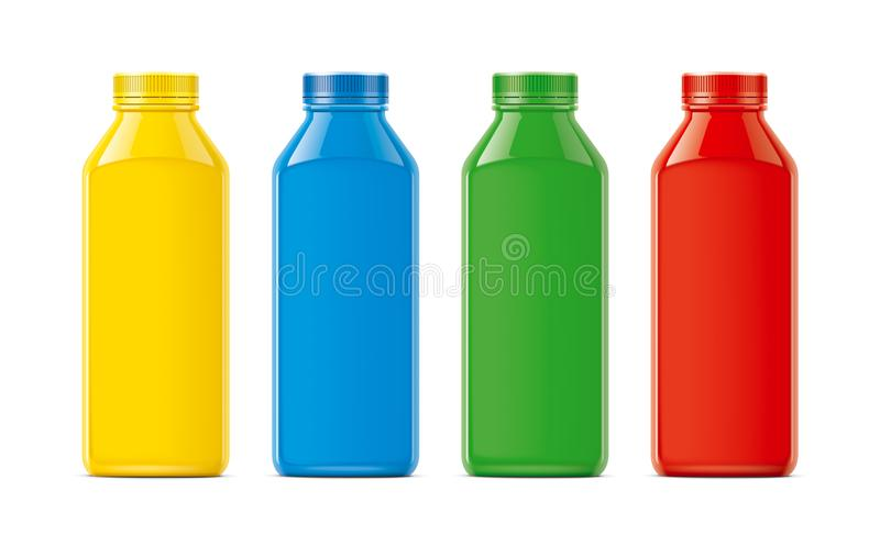 Bottles for juice, soda and other. Colored, not transparent version royalty free stock images