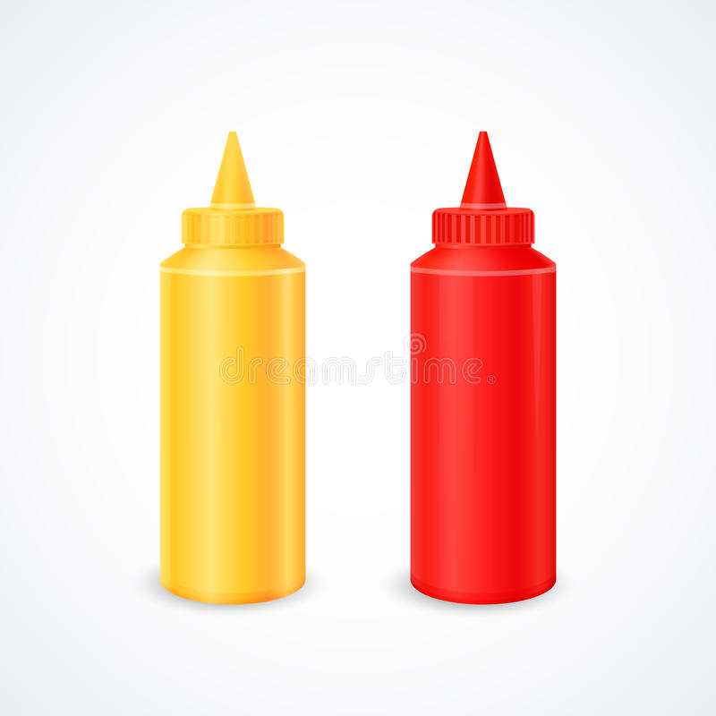 Bottles of ketchup and mustard royalty free stock photography
