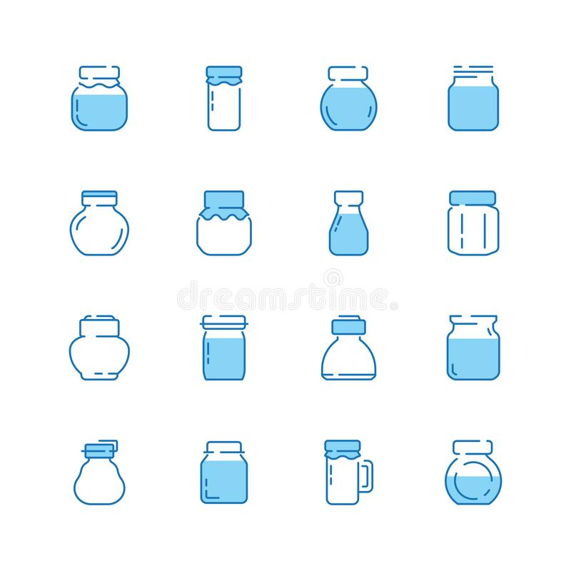 Bottles line icon. Jar packaged with healthy food jam products glass bottles vector symbols. Illustration glass bottle, jar with milk, honey and other royalty free illustration