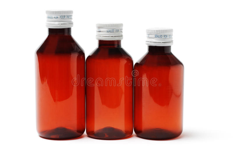 bottles medicinen förseglade tre royaltyfria bilder