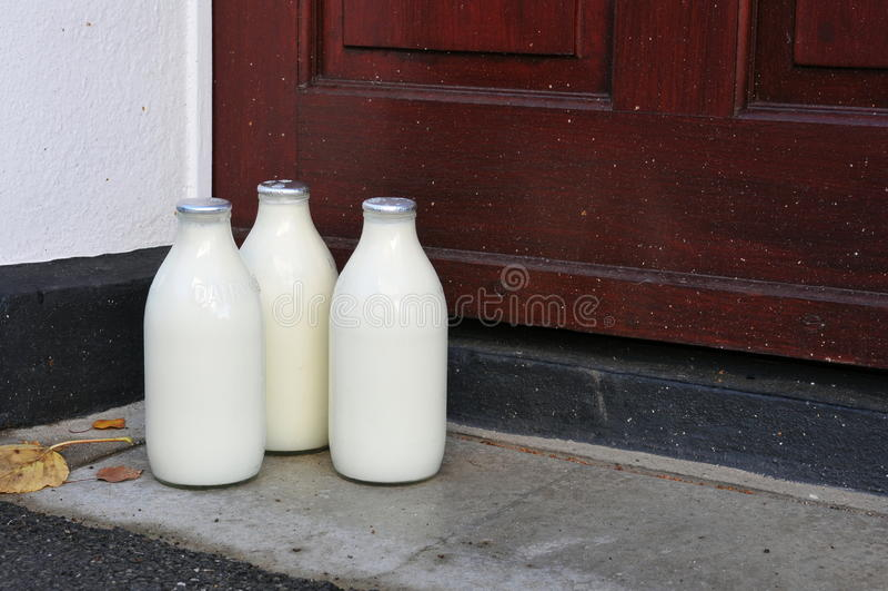 Download Bottles Of Milk On A Doorstep Stock Photo - Image: 25962416