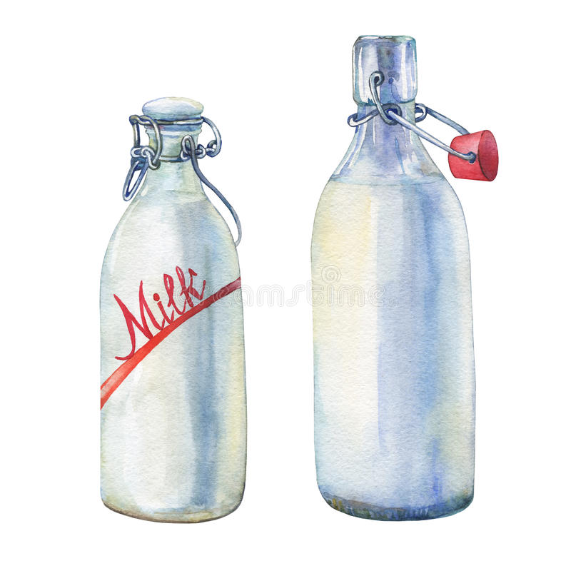 Bottles of milk. stock illustration