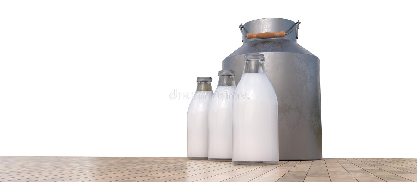 Bottles of milk and metal container. 3D rendered illustration royalty free illustration