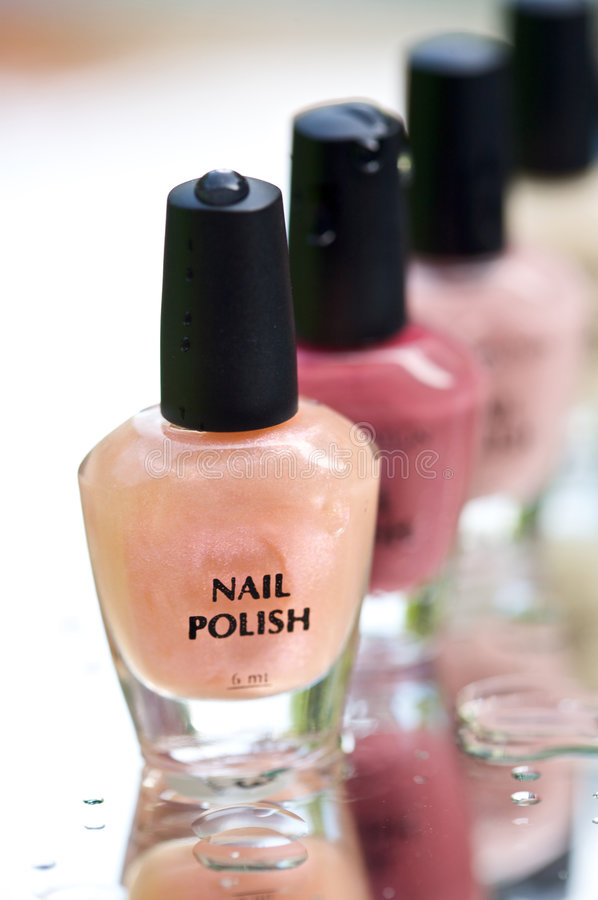 Bottles of nail polish royalty free stock photo