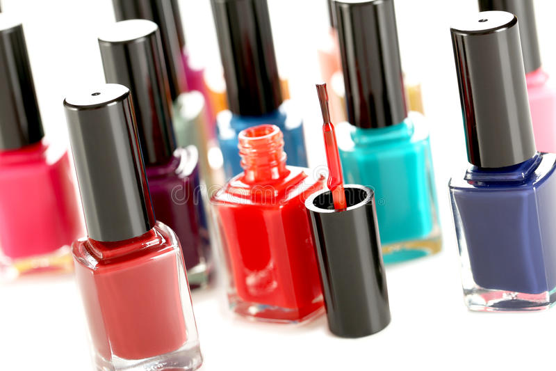 Bottles of nail polish stock image