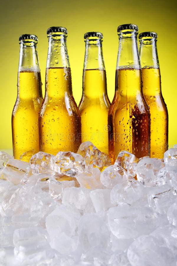 Free Bottles Of Cold And Fresh Beer With Ice Stock Photo - 19820790