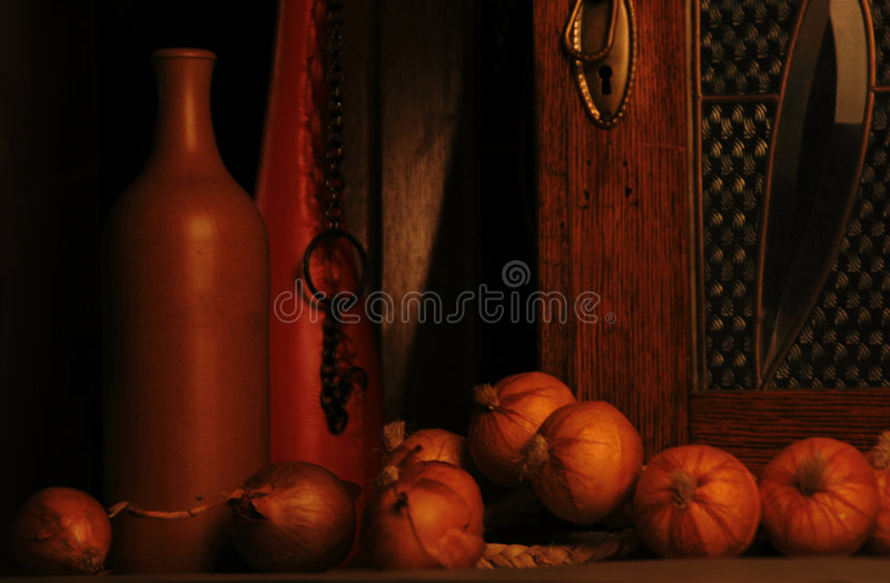 Bottles and onions royalty free stock photos