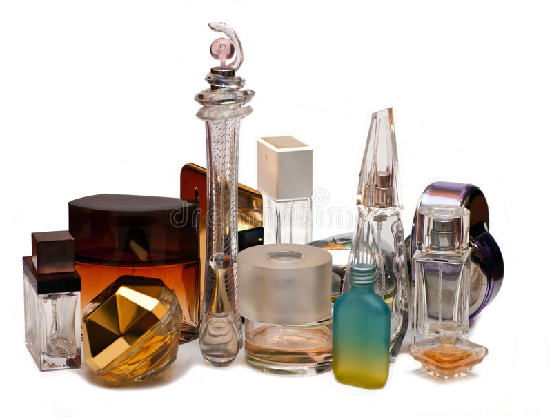 Bottles of perfume. Against a white background royalty free stock image