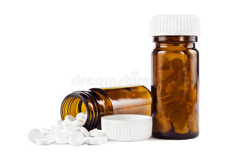 Bottles with pills royalty free stock photos