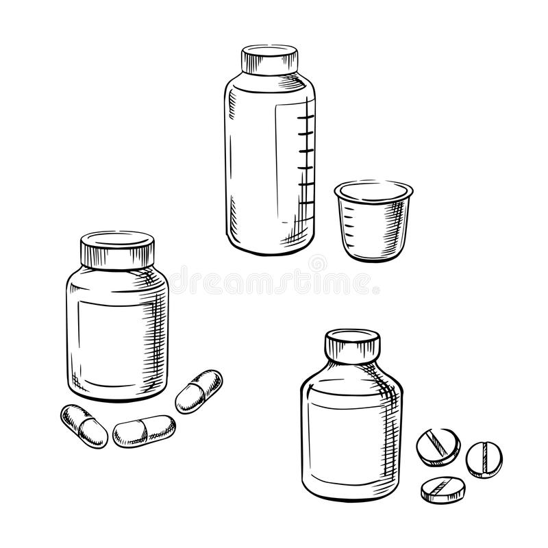 Bottles with pills, capsules and cough syrup. Medical bottles with pills, capsules and cough syrup with measuring cup, for healthcare and medical theme. Sketch vector illustration