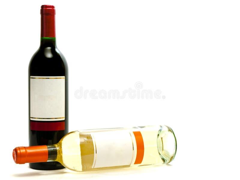 bottles röd vit wine royaltyfria foton