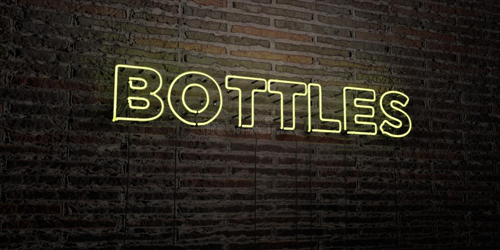 BOTTLES -Realistic Neon Sign on Brick Wall background - 3D rendered royalty free stock image stock illustration