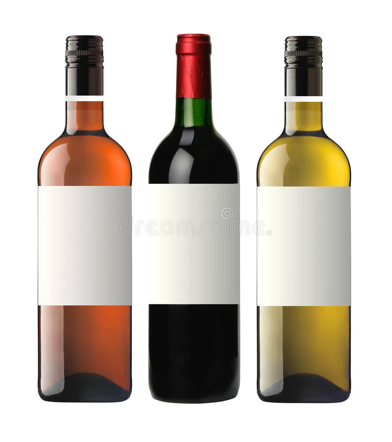 Bottles of red pink and white wine isolated on white for Cocktail 0 base de vin blanc