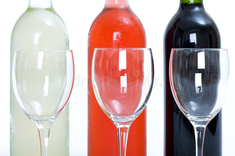Download Bottles Of Red, White And Rose Wine With Glasses Stock Image - Image: 363257