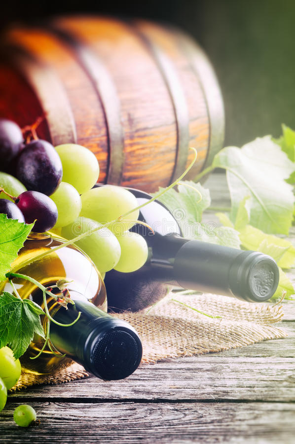 Bottles of red and white wine with fresh grape royalty free stock photography