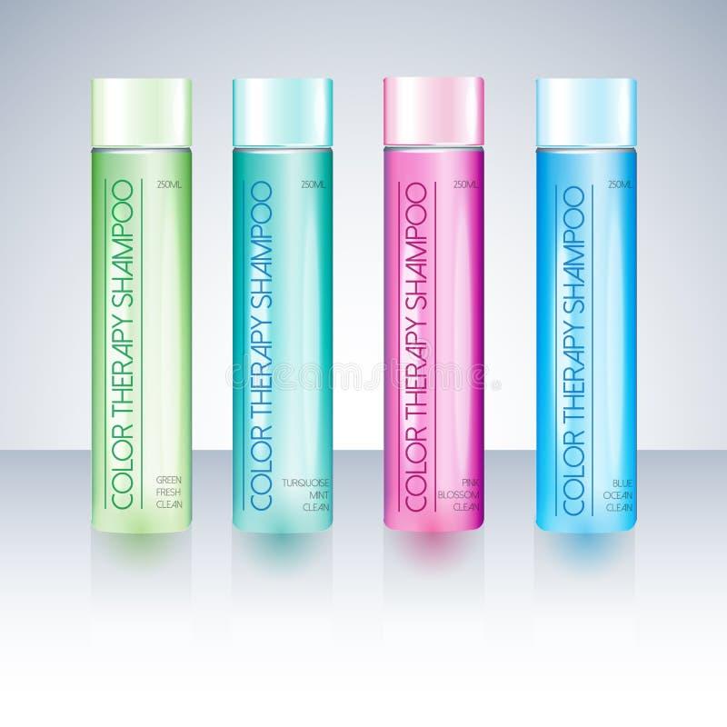 Bottles With Sample Labels For Shower Gel Or Shampoo Stock Vector