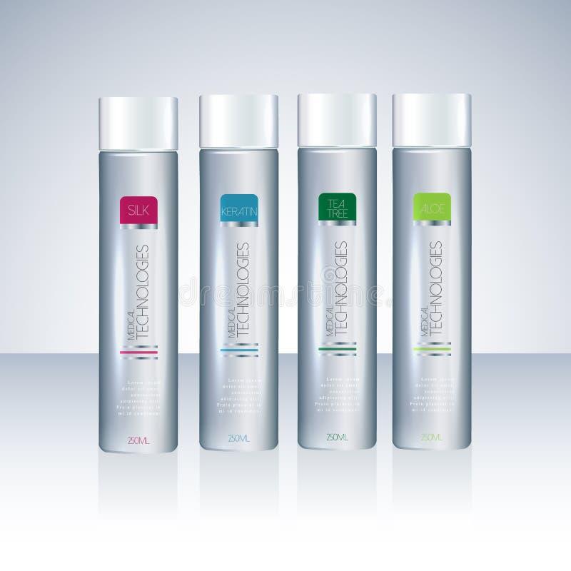 Bottles with sample labels for shower gel or shampoo royalty free illustration