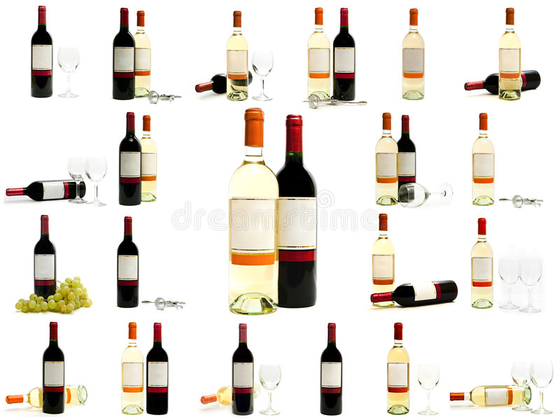 bottles set vit wine för red royaltyfria foton