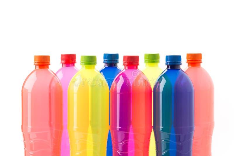 Bottles of soft drinks. On white background stock images