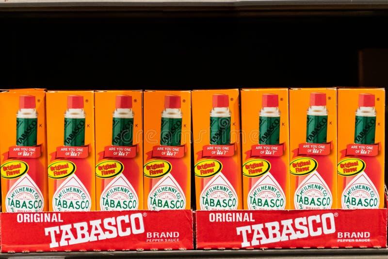 Bottles of Tabasco brand hot sauce stock image