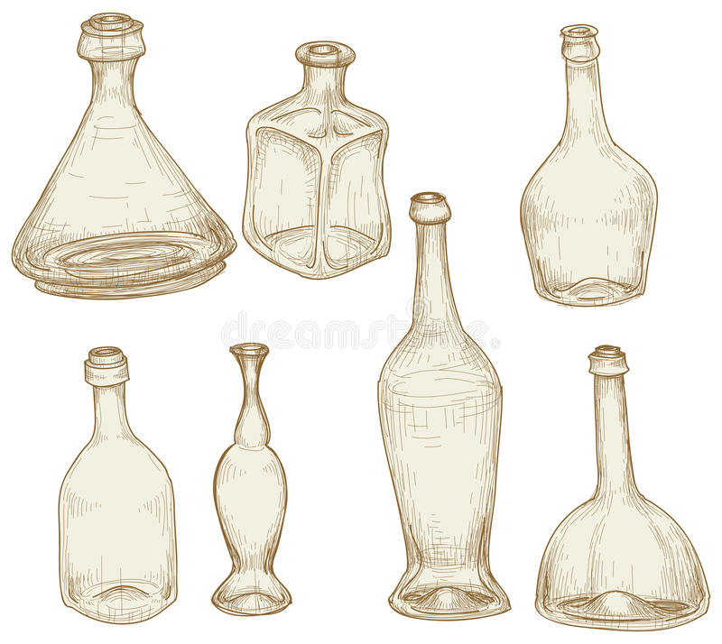 bottles teckningar royaltyfri illustrationer