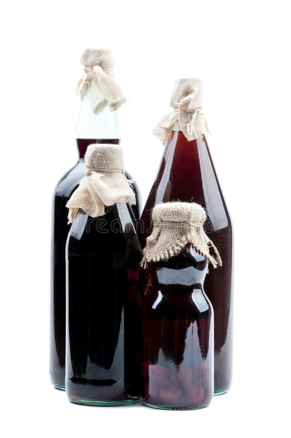 Bottles of traditional syrup stock image