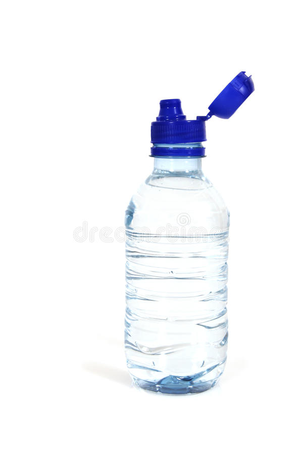 Bottles of water. Bottle of water with blue cap on white royalty free stock photography