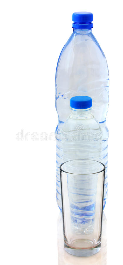 Bottles of water and glass stock photo