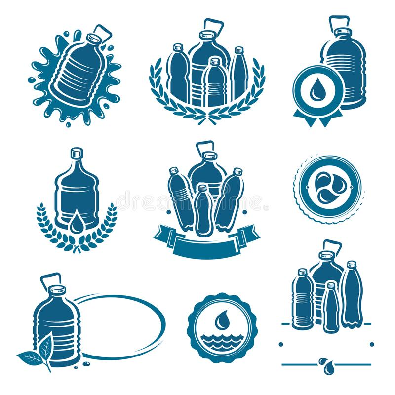 Bottles water labels and elements set. Water icon collection. Vector. Illustration royalty free illustration