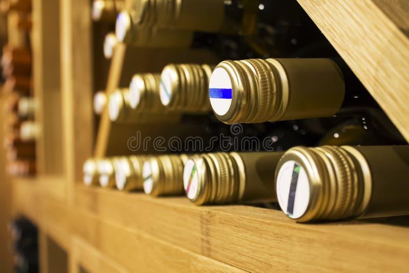 Bottles of white wine stock image