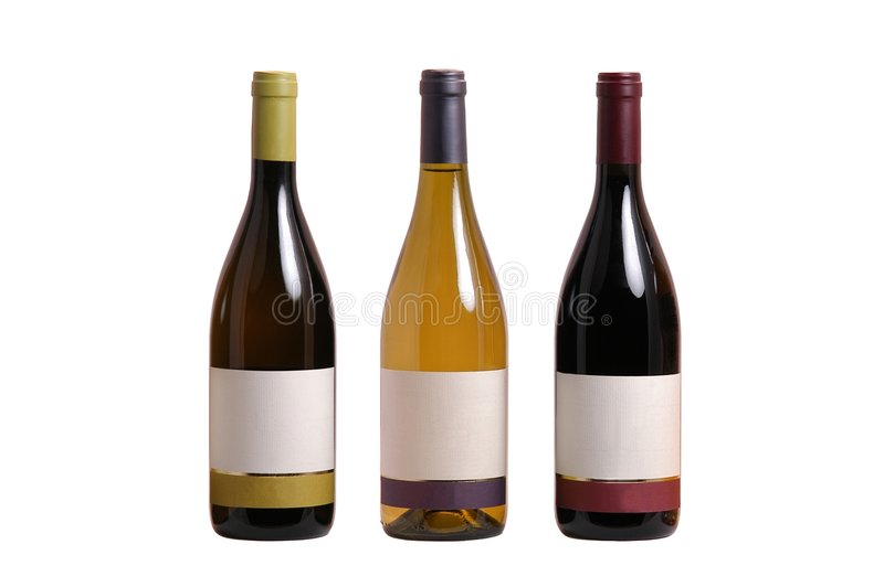 Bottles of wine with blank label royalty free stock image