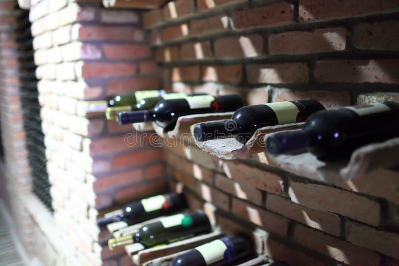 Bottles of wine. In cellar, Kakheti, Georgia royalty free stock photos
