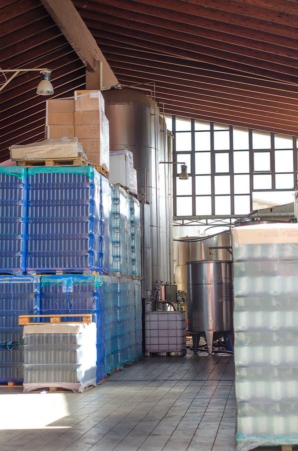 Bottles for wine making stock image