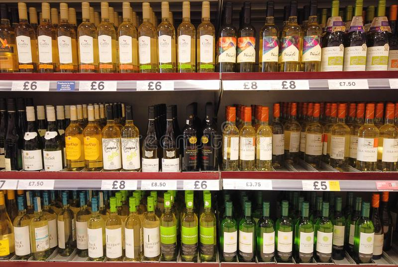 Bottles of Wine for sale royalty free stock image