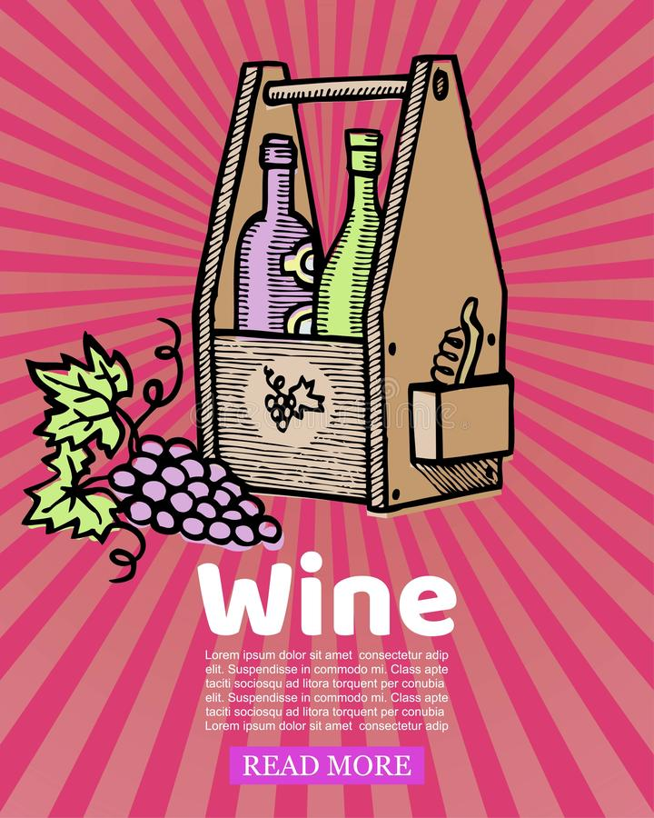 Bottles of wine in wooden crate and winery grapes on retro stripped background vector illustration. Box of old wine royalty free illustration