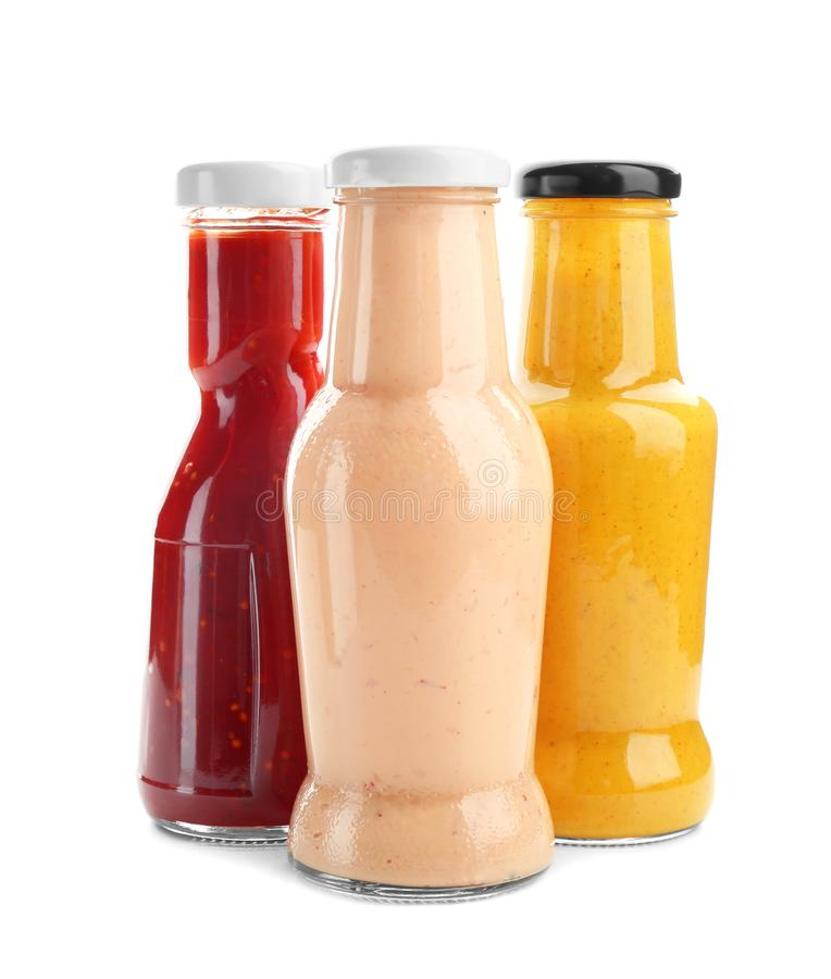 Free Bottles With Different Sauces For Salad Stock Image - 107406131