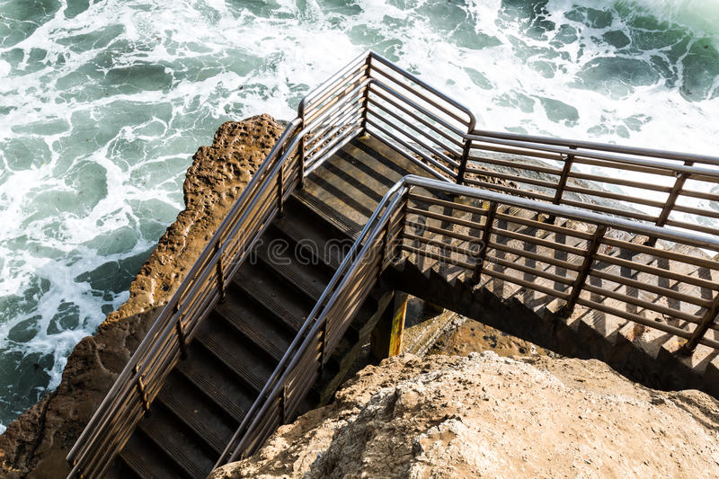Download Bottom Of Beach Access Staircase, Sunset Cliffs, San Diego Stock  Photo   Image